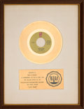 "Music Memorabilia:Awards, O'Jays ""Love Train"" RIAA White Matte Gold Sales Award (PhiladelphiaInternational ZS7 3524, 1972)...."