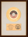 "Music Memorabilia:Awards, Spinners ""I'll Be Around"" RIAA White Matte Gold Sales Award(Atlantic 45-9204, 1972)...."