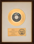 "Music Memorabilia:Awards, Al Green ""Call Me (Come Back Home)"" RIAA White Matte Gold SalesAward (Hi 45-2235, 1972)...."