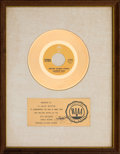 "Music Memorabilia:Awards, Charlie Rich ""Behind Closed Doors"" RIAA White Matte Gold SalesAward (Epic 5-10950, 1973)...."