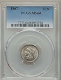 Three Cent Nickels: , 1867 3CN MS64 PCGS. PCGS Population: (201/75). NGC Census: (177/49). CDN: $200 Whsle. Bid for problem-free NGC/PCGS MS64. M...