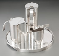 Lino Sabattini (Italian, b. 1925) Five-Piece Coffee and Tea Service, circa 1960 Silver-plate 7-1/