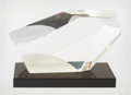 Art Glass, Harvey K. Littleton (American, 1922-2013). Polyhedron XI, 1979. Cut optical crystal, with gray glass plinth. 8-1/8 inche... (Total: 2 Items)