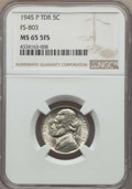 1945-P 5C Doubled Die Reverse, FS-803 MS65 Full Steps NGC. NGC Census: (0/0). PCGS Population: (1/2)....(PCGS# 38502)