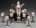 Silver Holloware, American:Other , A Twelve-Piece International Silver Co. Art Deco Silver and EnamelCocktail Service, circa 1930. With marks for Barbour Silv...(Total: 12 Items)