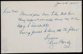 Autographs:Letters, 1962 Rogers Hornsby Signed Handwritten Letter....