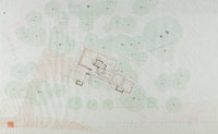 Frank Lloyd Wright (American, 1867-1959) Rendered Site Plan for the Broad Margin House, 1951 Ink, gr