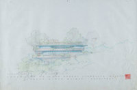 Frank Lloyd Wright (American, 1867-1959) Rendered Elevations of the Mr. & Mrs. Robert Llewellyn Wright House &lt...