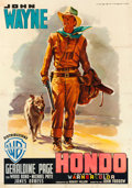 "Movie Posters:Western, Hondo (Warner Brothers, 1954). Italian 4 - Fogli (55.5"" X 77.25"") Luigi Martinati Artwork.. ..."