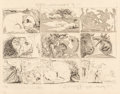 Fine Art - Work on Paper:Print, Pablo Picasso (1881-1973). One Plate, from Suenos y Mentira de Franco, 1937. Etching with aquatint on wove paper. 12...