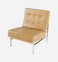 Furniture : American, Florence Schust Knoll (American, b. 1917). Parallel Bar Lounge Chair, circa 1955, Knoll Associates. Olive green leather ...