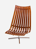 Furniture , Hans Brattrud (Norwegian, 1933-2017). Lounge Chair, 1957, Hove Mobler. Laminated rosewood, wool upholstered cushion, chr...