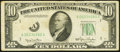 Error Notes:Obstruction Errors, Partial Obstructed Third Printing Error on Face Fr. 2010-A $10 1950Wide Federal Reserve Note. Fine-Very Fine.. ...