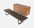 Furniture , George Nelson (American, 1908-1986). Six-Drawer Chest on Slat Bench, Herman Miller. Walnut veneer, brass, stained wood. ... (Total: 2 Items)