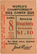 Baseball Collectibles:Tickets, 1921 World Series Game Three Ticket Stub....