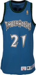 Baseball Collectibles:Uniforms, 1996-97 Kevin Garnett Signed Game Worn Minnesota Timberwolves Jersey & Trunks, MEARS A10....
