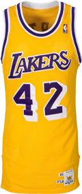 Basketball Collectibles:Uniforms, 1989 James Worthy Game Worn Los Angeles Lakers Jersey....