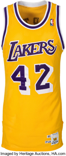 the latest 67b73 eb15f 1989 James Worthy Game Worn Los Angeles Lakers Jersey ...