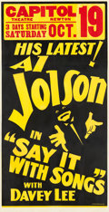 "Movie Posters:Musical, Say it with Songs (Warner Brothers, 1929). Quigley Three Sheet(40.25"" X 80.5"").. ..."