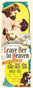 "Movie Posters:Film Noir, Leave Her to Heaven (20th Century Fox, 1945). Insert (14"" X 36"")....."