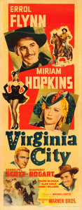 "Movie Posters:Western, Virginia City (Warner Brothers, 1940). Linen Finish Insert (14"" X36"").. ..."