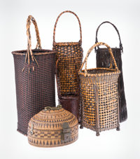 Japanese School (late 19th/ early 20th Century) Four Ikebana Baskets Bamboo and reeds; together wit