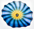 Art Glass, Dale Chihuly (American, b. 1941). Cobalt Seaform with Yellow LipWrap, circa 1995. Blown glass. 28 inches diameter (71.1...