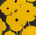Fine Art - Work on Paper:Print, Donald Sultan (b. 1951). Eight Yellow Flowers with FlockedCenters, 2002. Etching with flocking and sprayed color paper...