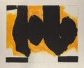 Prints & Multiples, Robert Motherwell (1915-1991). Burning Elegy, 1991. Lithograph and handcoloring in colors on wove paper, with full margi...