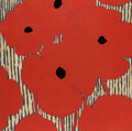 Fine Art - Work on Paper:Print, Donald Sultan (b. 1951). Eight Red Poppies with FlockedCenters, 2002. Etching with woodcut and sprayed color paperpulp...