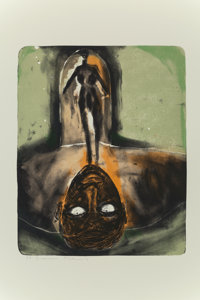 Francesco Clemente (b. 1952) Self Portrait in Red and Green, c. 1980 Lithograph in colors on Arches