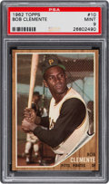 Baseball Cards:Singles (1960-1969), 1962 Topps Roberto Clemente #10 PSA Mint 9 - Only One Higher. ...