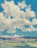 Fine Art - Painting, American, Eanger Irving Couse (American, 1866-1936). Over the TaosValley, circa 1926. Oil on board. 10 x 8 inches (25.4 x 20.3cm...