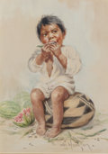 Fine Art - Work on Paper, Grace Carpenter Hudson (American, 1865-1937). Native AmericanChild Eating Watermelon. Gouache on paper laid on board. 1...