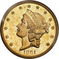 Liberty Double Eagles, 1861-O $20 MS60 PCGS. Variety 1....