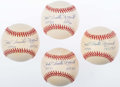 Autographs:Baseballs, Phil Rizzuto Single Signed, Inscribed Baseballs Lot of 4. . ...