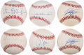 Autographs:Baseballs, Baseball Greats Single Signed Baseballs Lot of 6.. ...