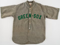 Baseball Collectibles:Uniforms, 1937-38 Greensburg Green Sox Full Uniform.. ...