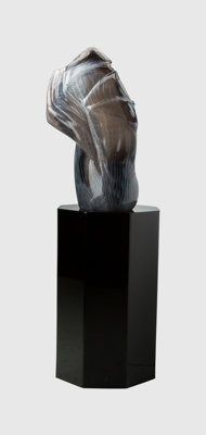 William Morris (American, b. 1957) Standing Stone, 1983 Blown glass, black acrylic pedestal 26-3/