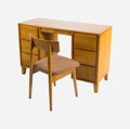 Furniture , Russel Wright (American, 1904-1976). Desk and Chair, circa 1950, Conant Ball. Maple and upholstery. 30-1/4 x 46 x 18-1/4... (Total: 2 Items)
