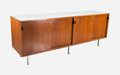Furniture , Florence Schust Knoll (American, b. 1917). Cabinet, circa 1952, Knoll International. Mahogany and white Formica, leather...