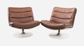 Furniture , Geoffrey Harcourt (British, b. 1935). Pair of Lounge Chairs, model F978, 1968, Artifort Houtoku. Brown leather, enameled... (Total: 2 Items)