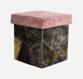 Furniture , Paul Evans (American , 1931-1987). PE 35 Stool, 1960s, Directional. Enameled welded steel, velvet upholstery, casters. 1...