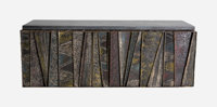 Paul Evans (American, 1931-1987) Deep Relief Wall Cabinet, 1960s, Directional Welded and enameled st