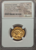 Ancients:Byzantine, Ancients: Heraclius (AD 610-641) & Heraclius Constantine (AD613-641).AV solidus (4.34 gm).NGC MS 4/5 - 3/5,clipped....