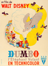 "Dumbo (RKO, 1947). First Post-War Release French Grande (45.5"" X 62.5"") Alexis Artwork"