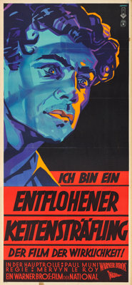 """I Am a Fugitive from a Chain Gang (Warner Brothers, 1933). German Three Sheet (37.25"""" X 82"""") Lapiner Artwork..."""