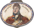 Political:3D & Other Display (pre-1896), Andrew Jackson: A Charming Battersea Enamel Patch Box with His Color Portrait....