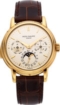 Timepieces:Wristwatch, Patek Philippe Very Rare And Important Ref. 3974J Yellow Gold Automatic Perpetual Calendar Minute Repeating Wristwatch With Mo...