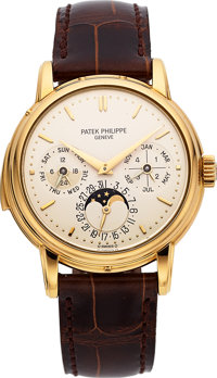 Patek Philippe Very Rare And Important Ref. 3974J Yellow Gold Automatic Perpetual Calendar Minute Repeating Wristwatch W...
